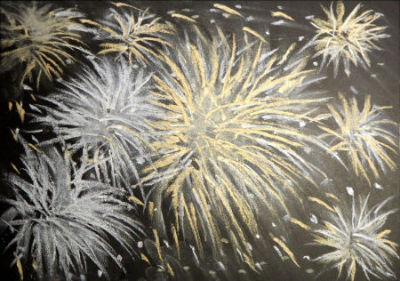 fireworks in pastel